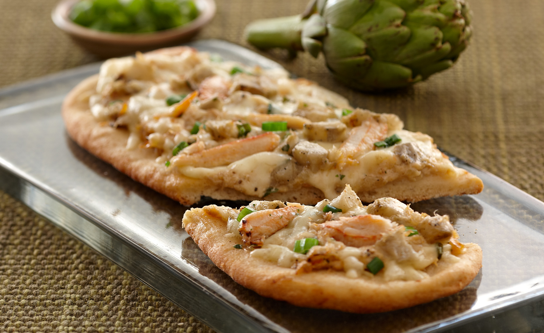 Food Photographer, Pizza photography | Pohuski Studios,  Asiago Artichoke Shrimp Flatbread