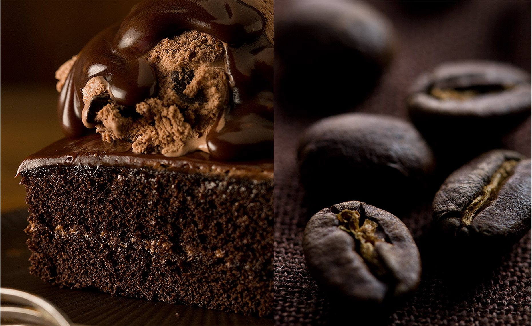 Food Photographer, Cake Photography, Ice Cream Photography, Dessert Photography | Pohuski Studios, Chocolate Cake Coffee Beans