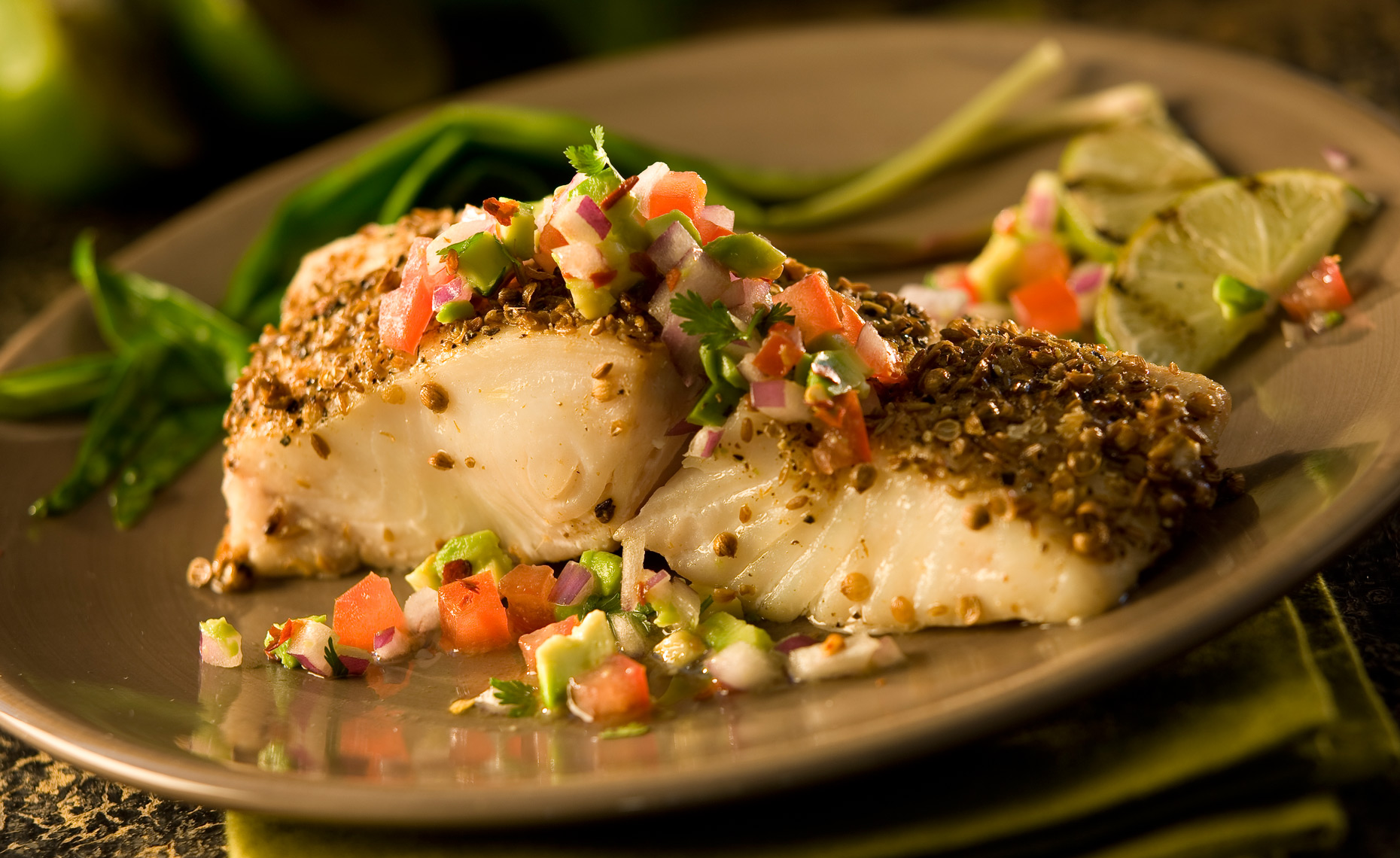 Food Photographer, Seafood Photography | Pohuski Studios,  Caper Crusted Halibut