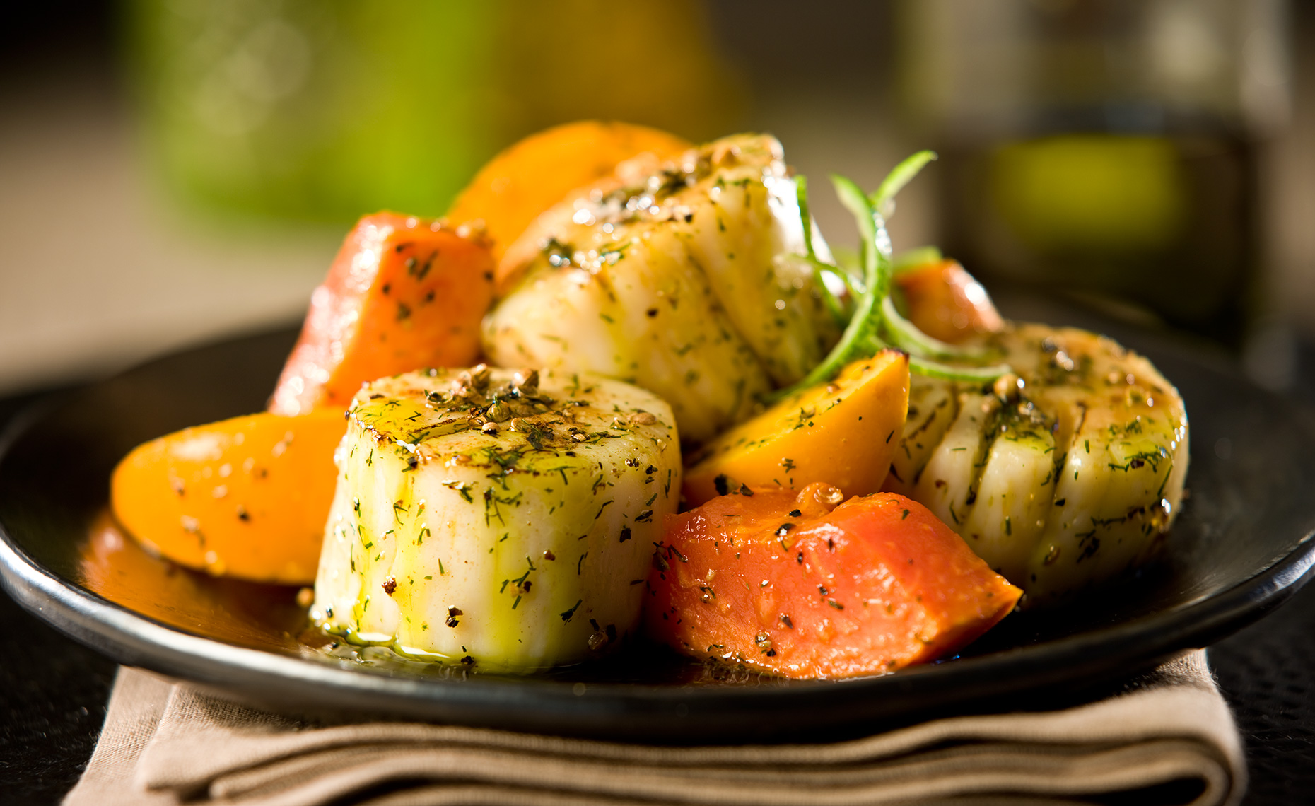 Food Photographer, Seafood Photography | Pohuski Studios,  Scallops Persimmons