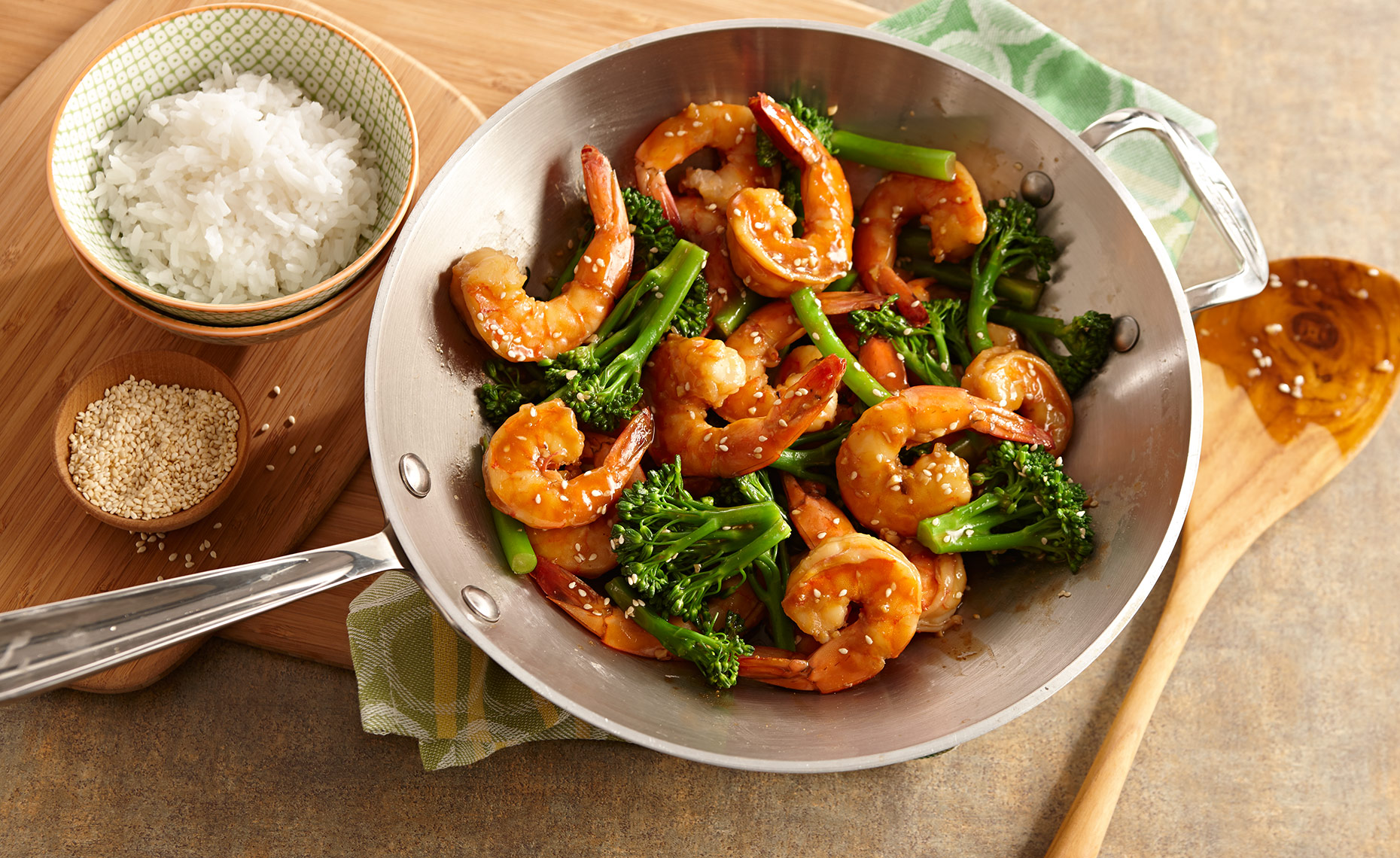 Food Photographer, Seafood Photography | Pohuski Studios,  Shrimp Broccolini Stir Fry